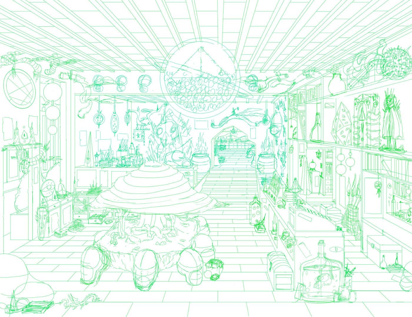background Perspective ILLUSTRATION  fantasy shop