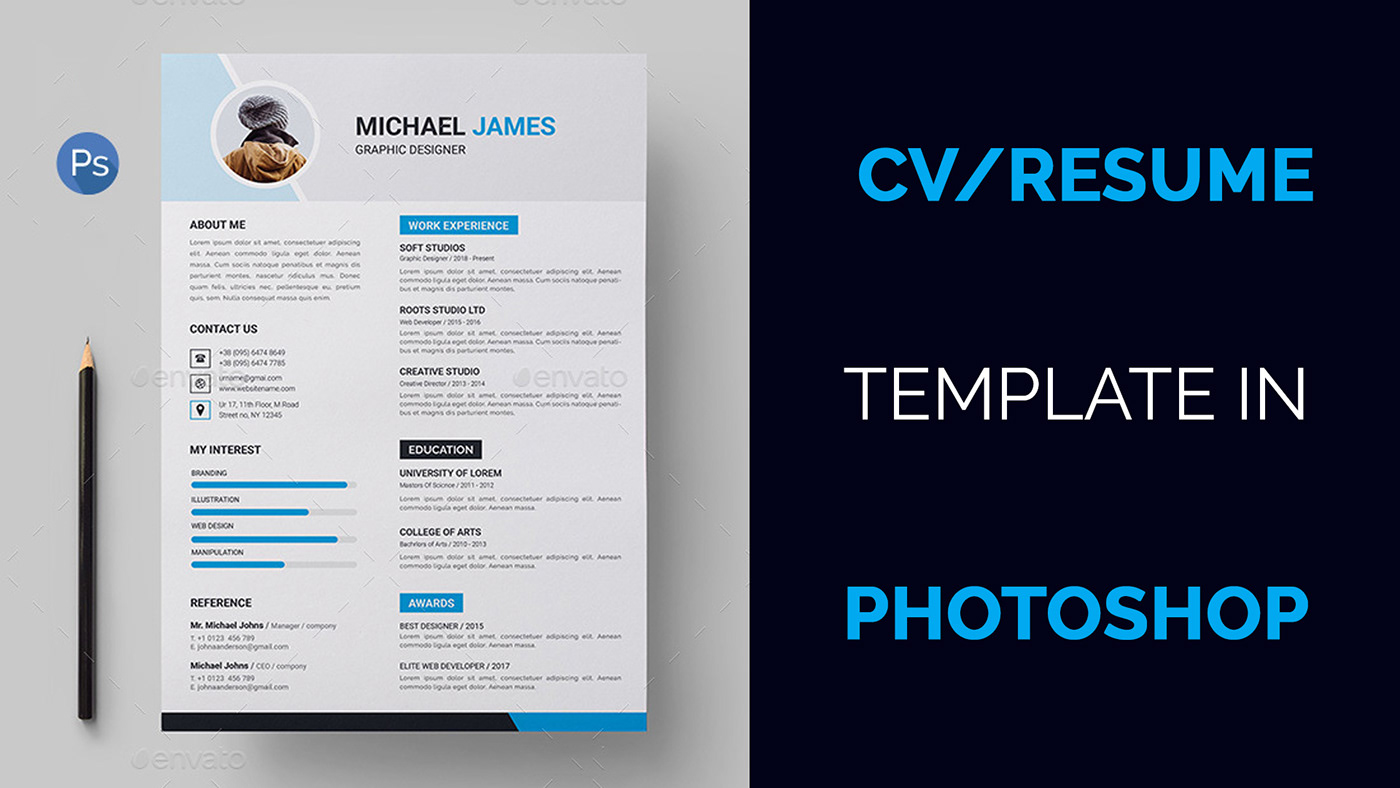 Cv Resume Template Design Tutorial With Photoshop On Behance