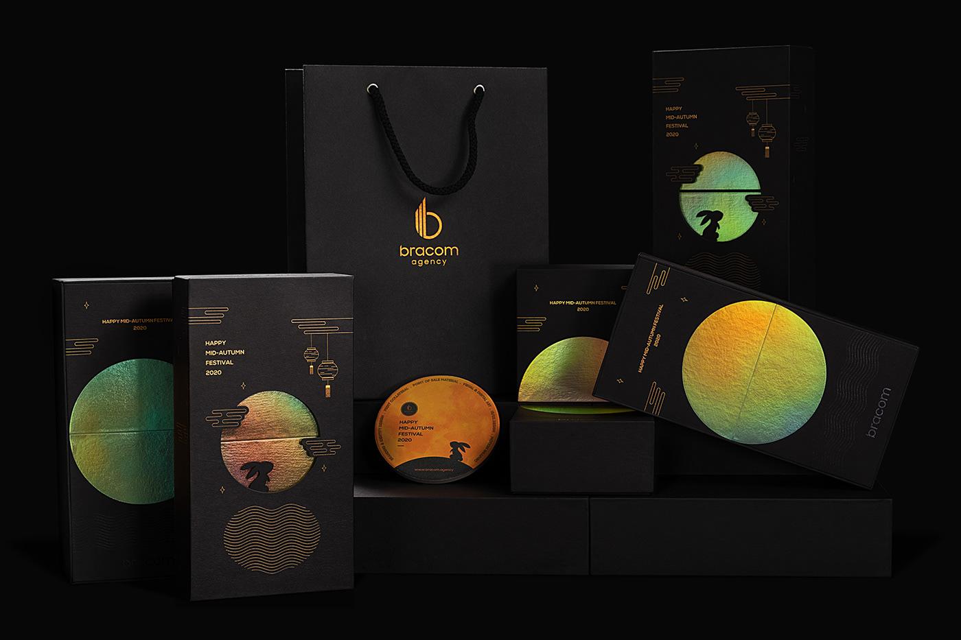 bracom bracom agency Creative Design gift box graphic design  mid-autumn moon mooncake Packaging