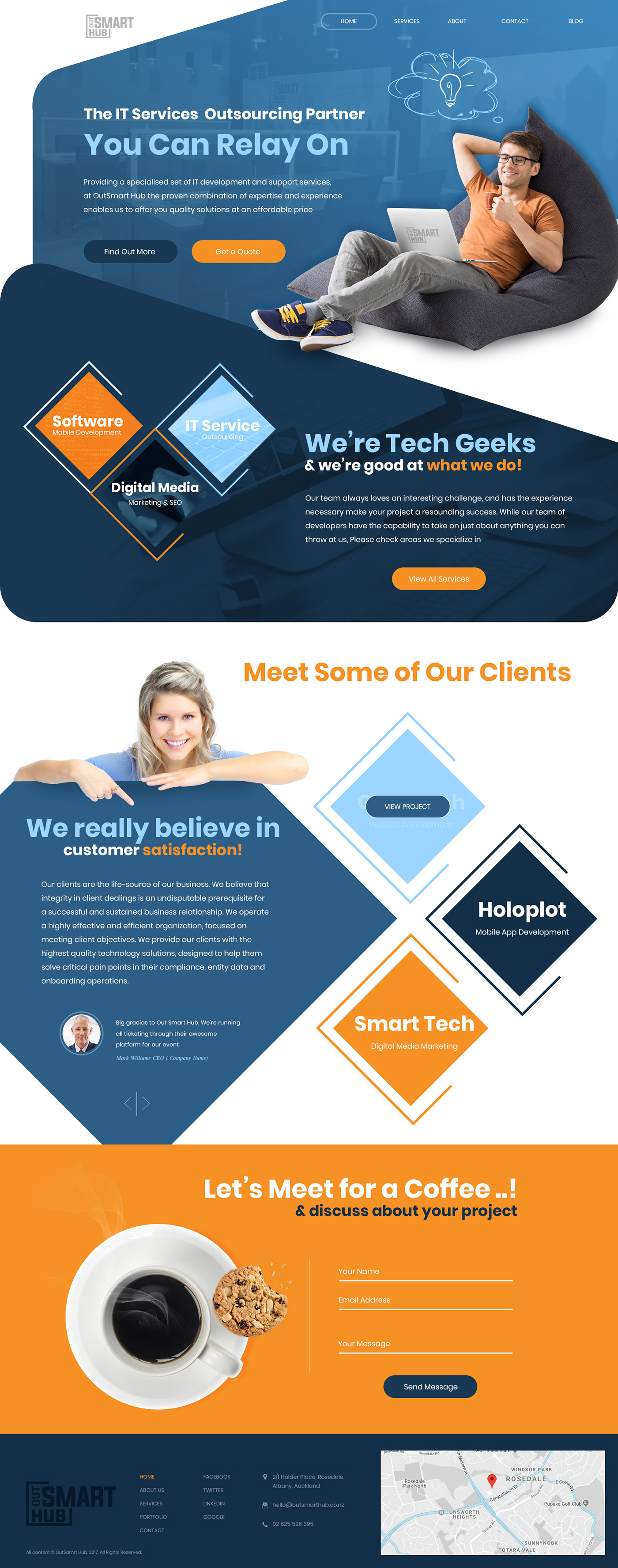 digital agency IT company Outsmart Hub Web Design  ux/ui minimal web design