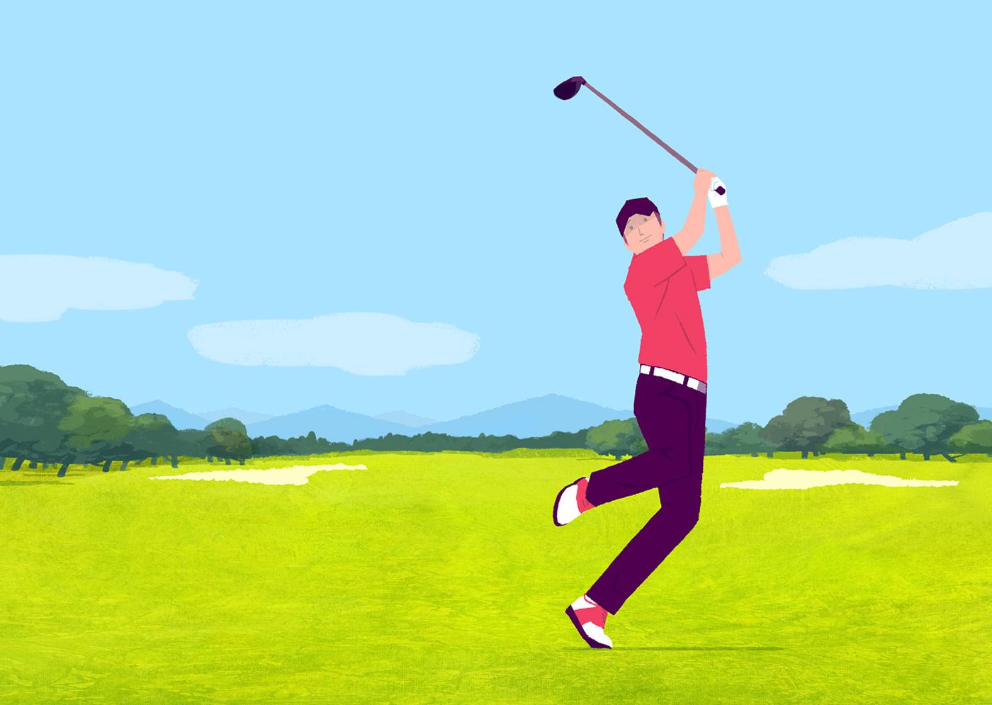 golf,japan,sports,athlete,ILLUSTRATION ,GolfDigest,Nature,magazine