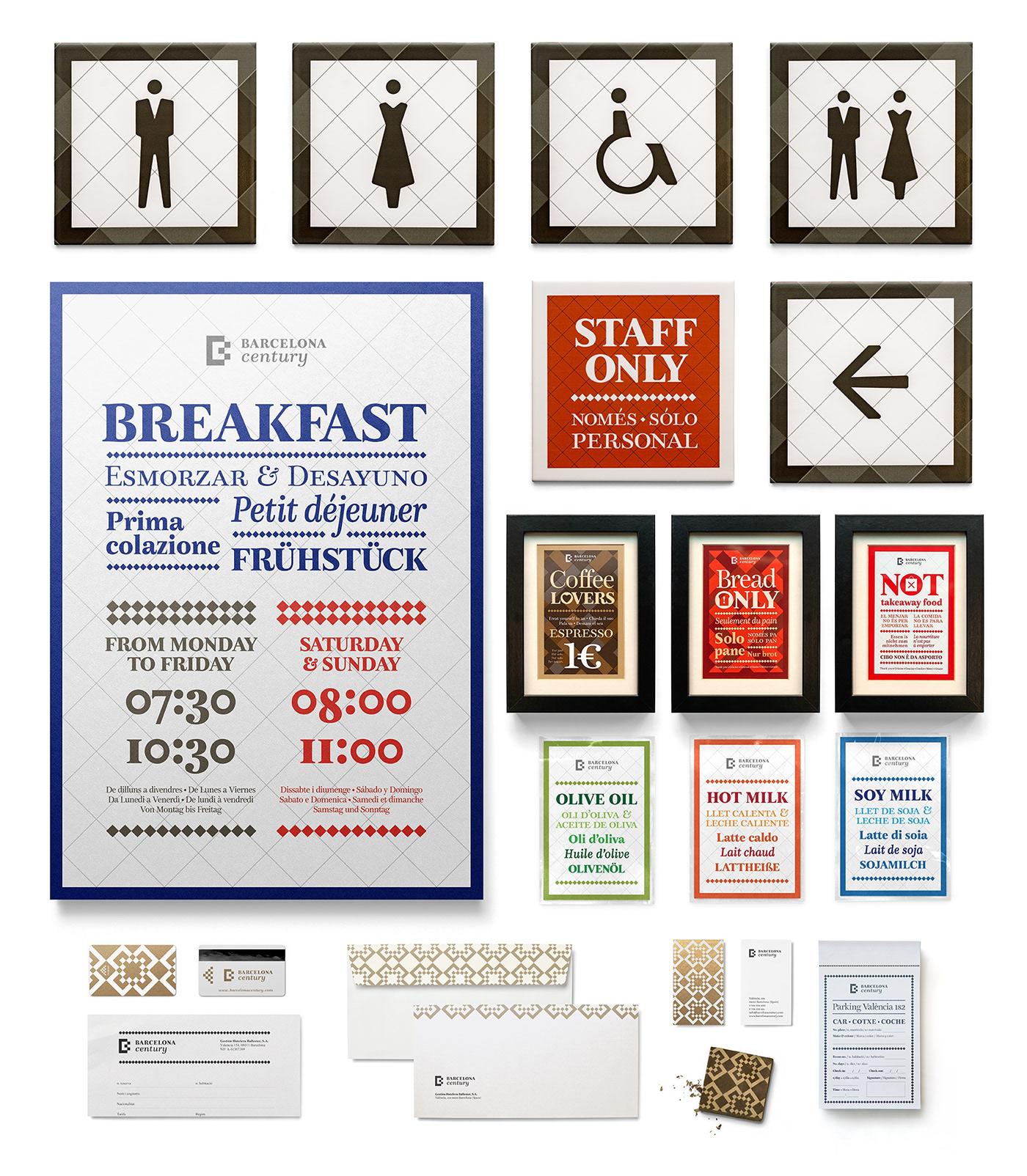 barcelona hotel pattern leterpress tile logo color serif restaurant number