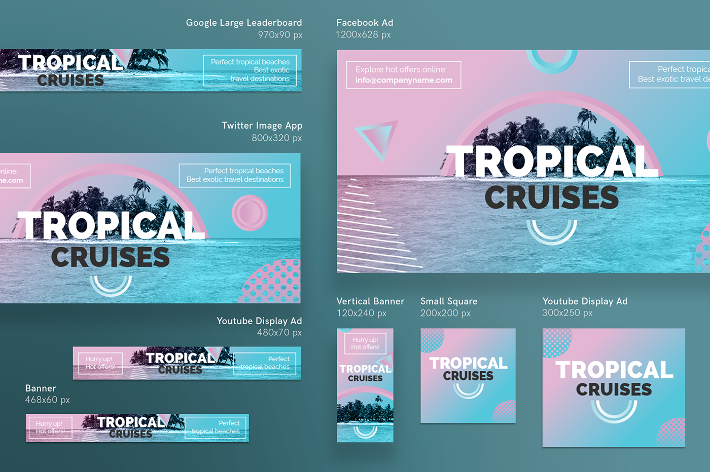 Tropical Cruises Modern And Creative Templates Suite On Behance - Facebook ad design template