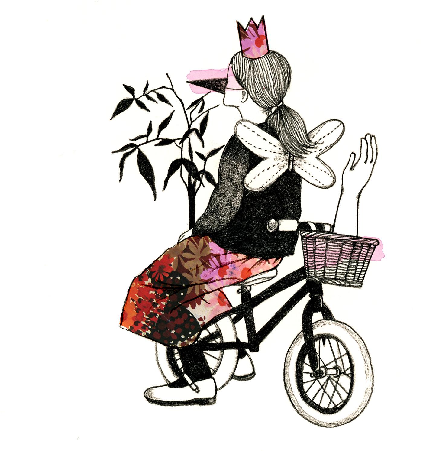 Image may contain: bicycle, cartoon and drawing