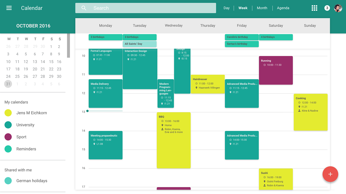 Redesign Of Google S Web Calendar Material Design On Behance