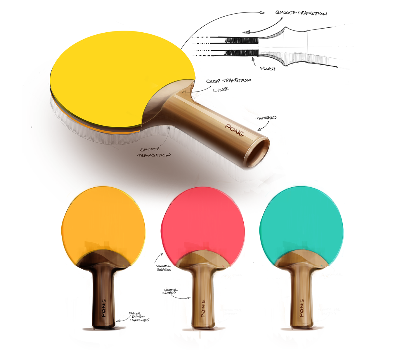 Recycled table tennis paddle sketch