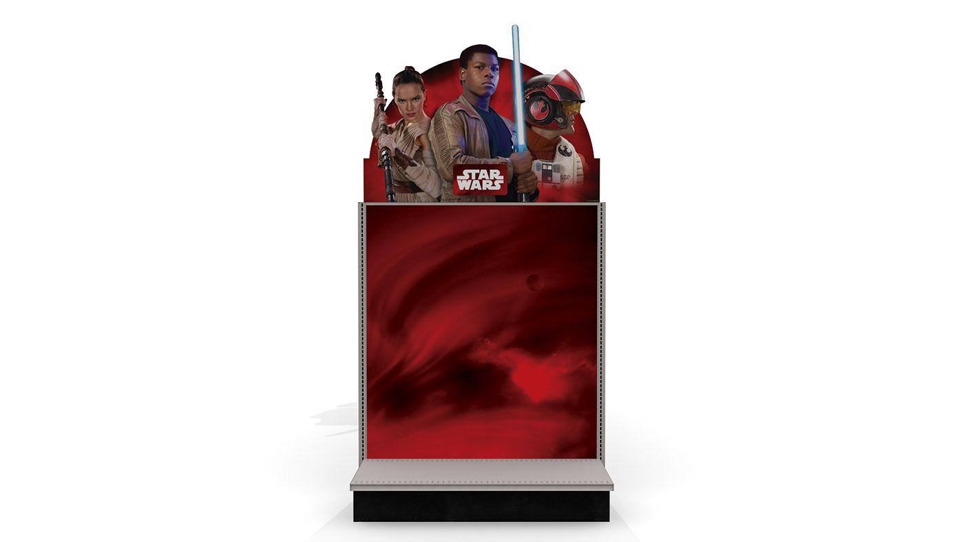star wars merchandising gondola in-store design general merchandise 3D Signage graphic design