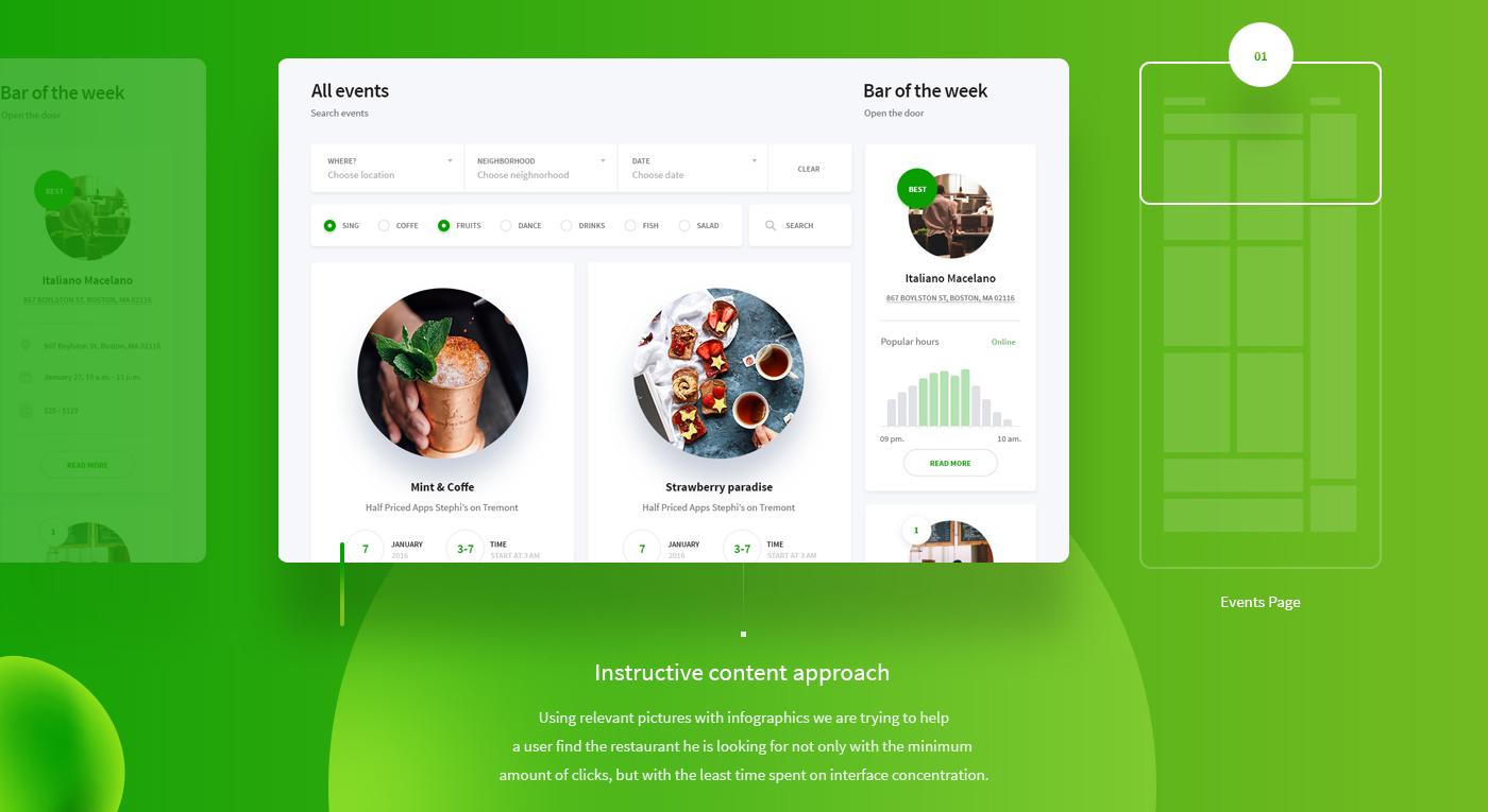 green UI Web Interface Food  interactive bar restaurant Website Event
