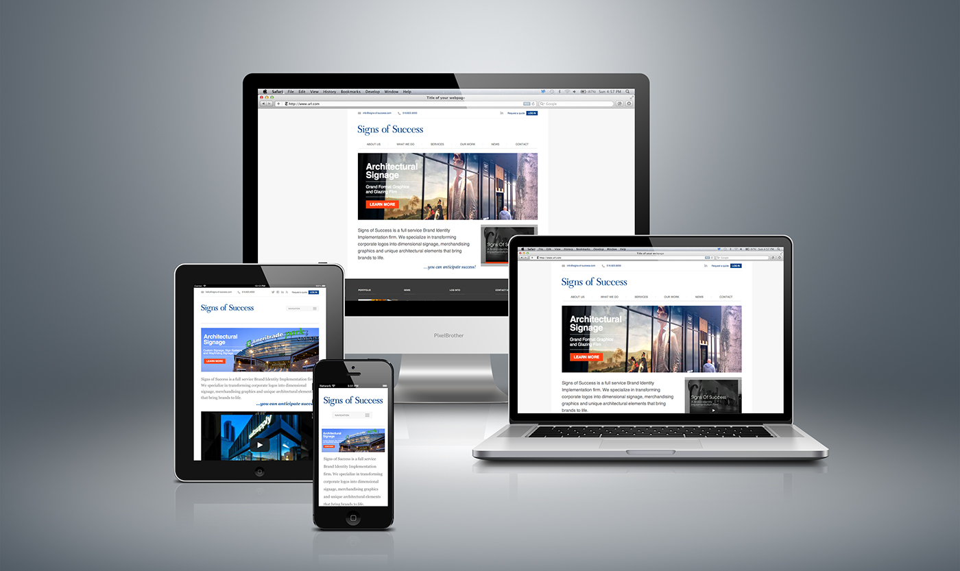 Responsive website design for Signs of Success