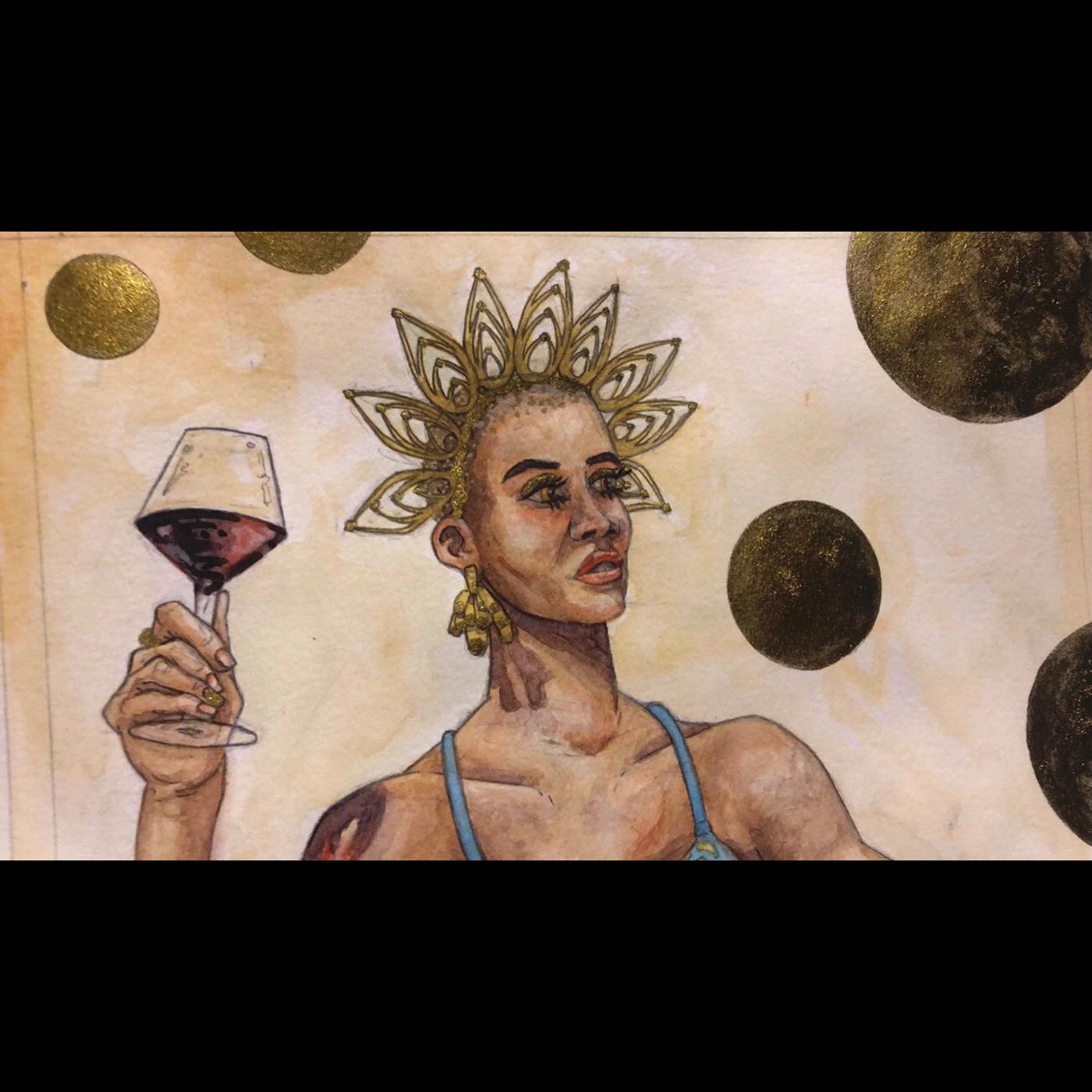 gold ink magazine model watercolor wine