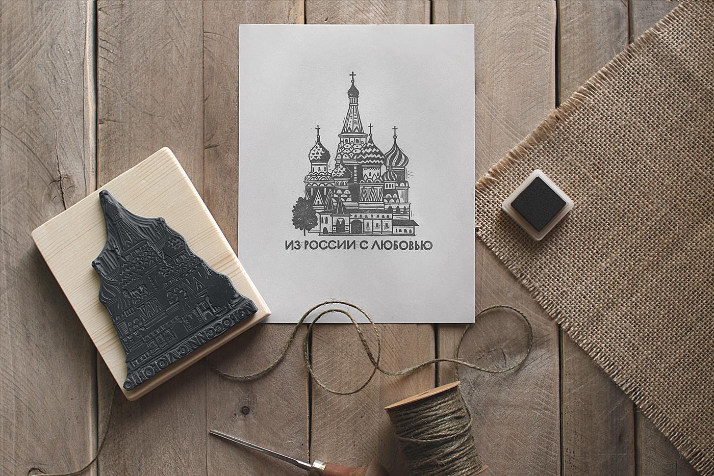 A Set of Linocut Stamps for a Cafe by Alesya Nesolenova