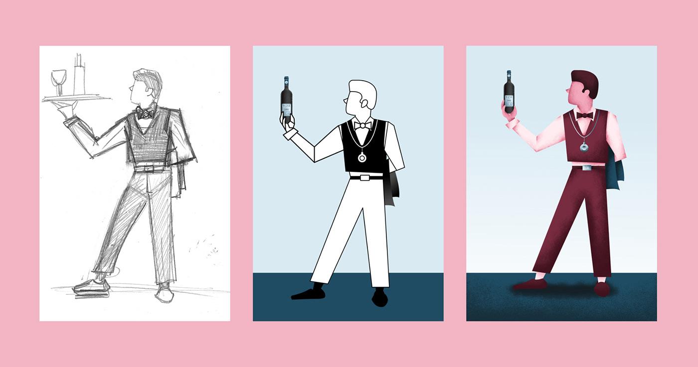 cover design editorial design  graphic design  ILLUSTRATION  magazine wine blue Love pink Food