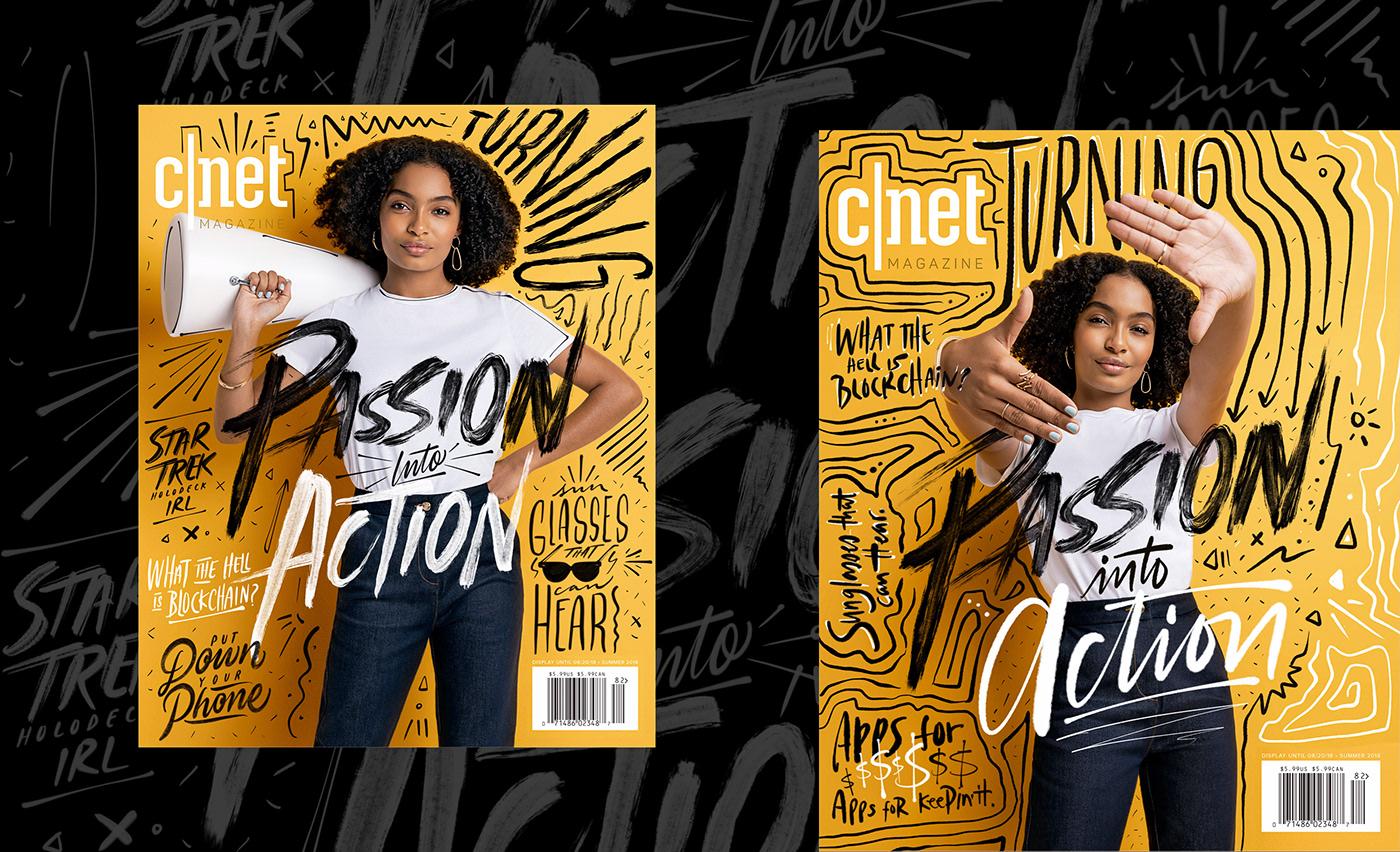 cover design lettering brushpen type magazine typography