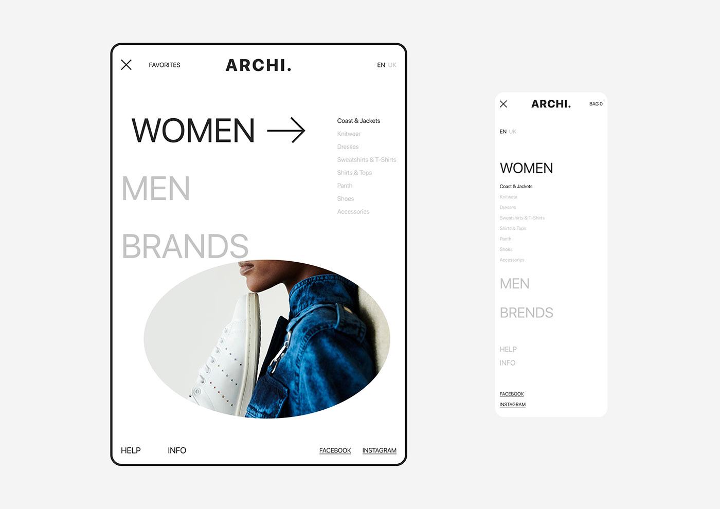 minimal typography   UI ux Web Design  Fashion  store