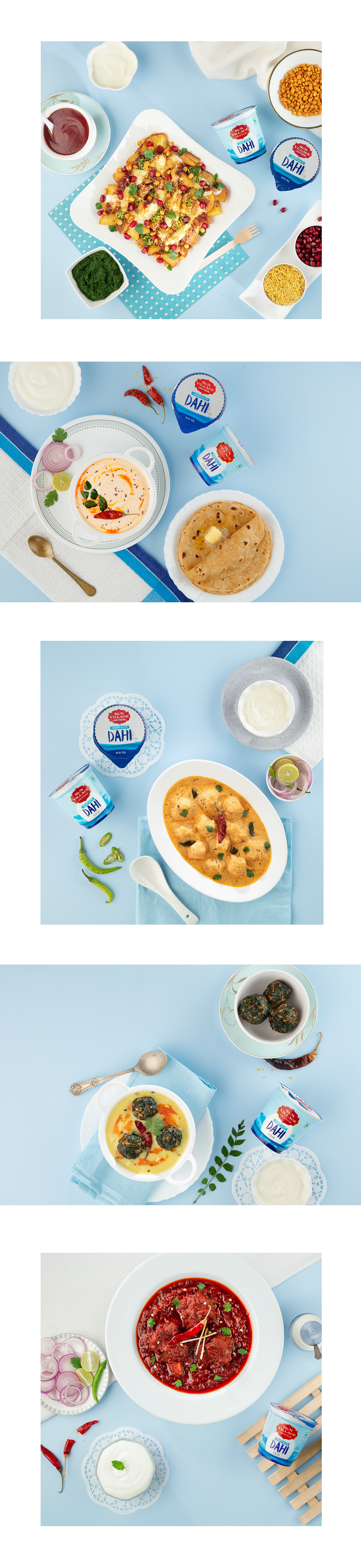 Dairy product shoot with contemporary style food styling by Janki Patel to show the use of products
