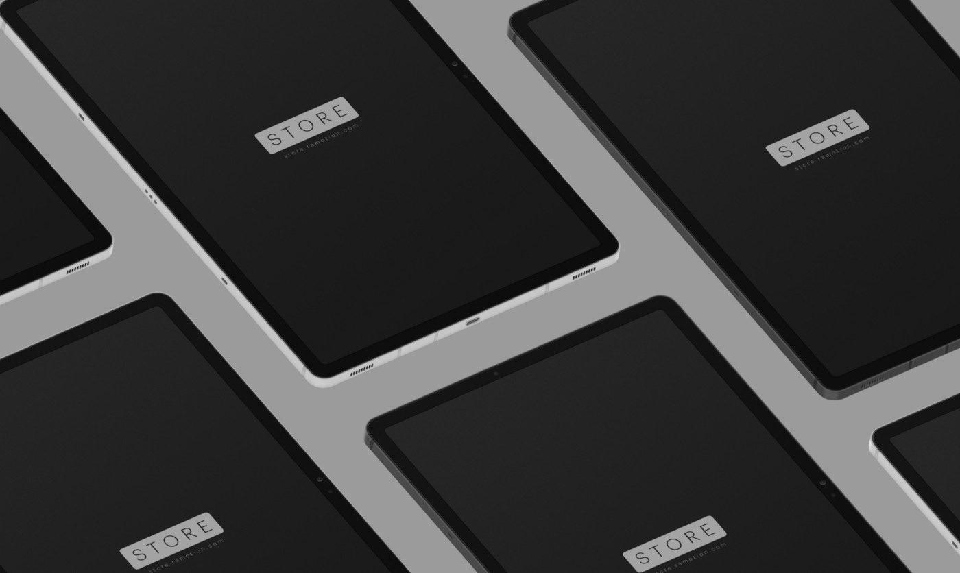 Isometric Samsung Galaxy Tab s7+ mockup