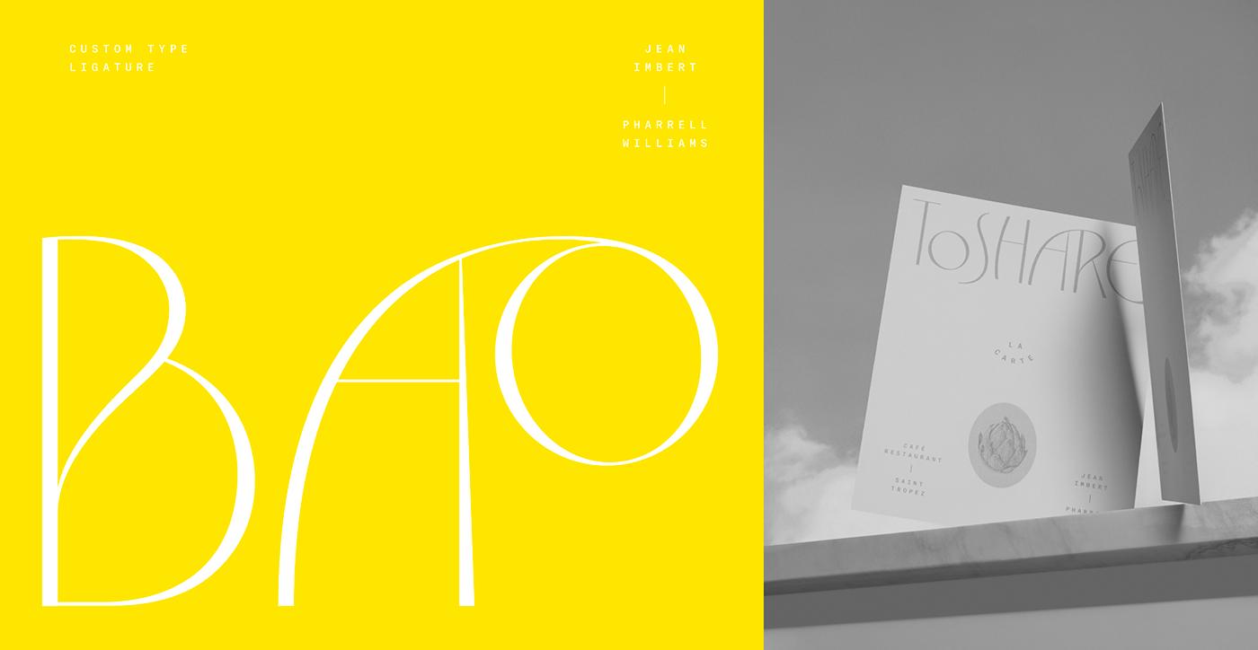 font Food  Jean Imbert menu pharrell williams St Tropez type typography   Violaine & Jeremy vj type