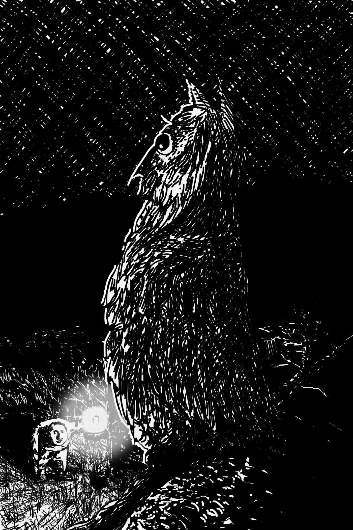 owl forest man lantern crosshatch traditional black White shaded night