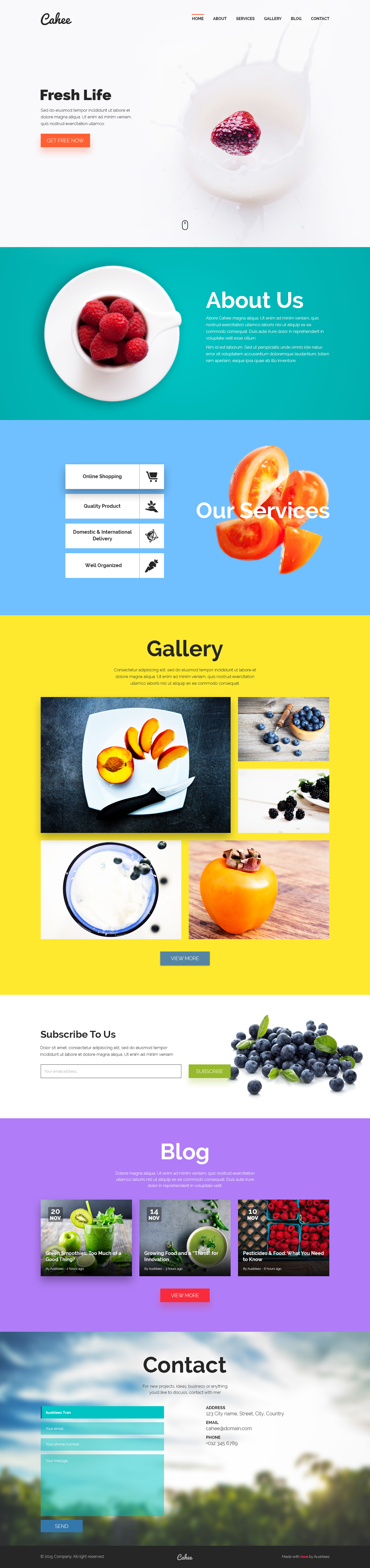 free landing page One Page template psd Fruit fresh