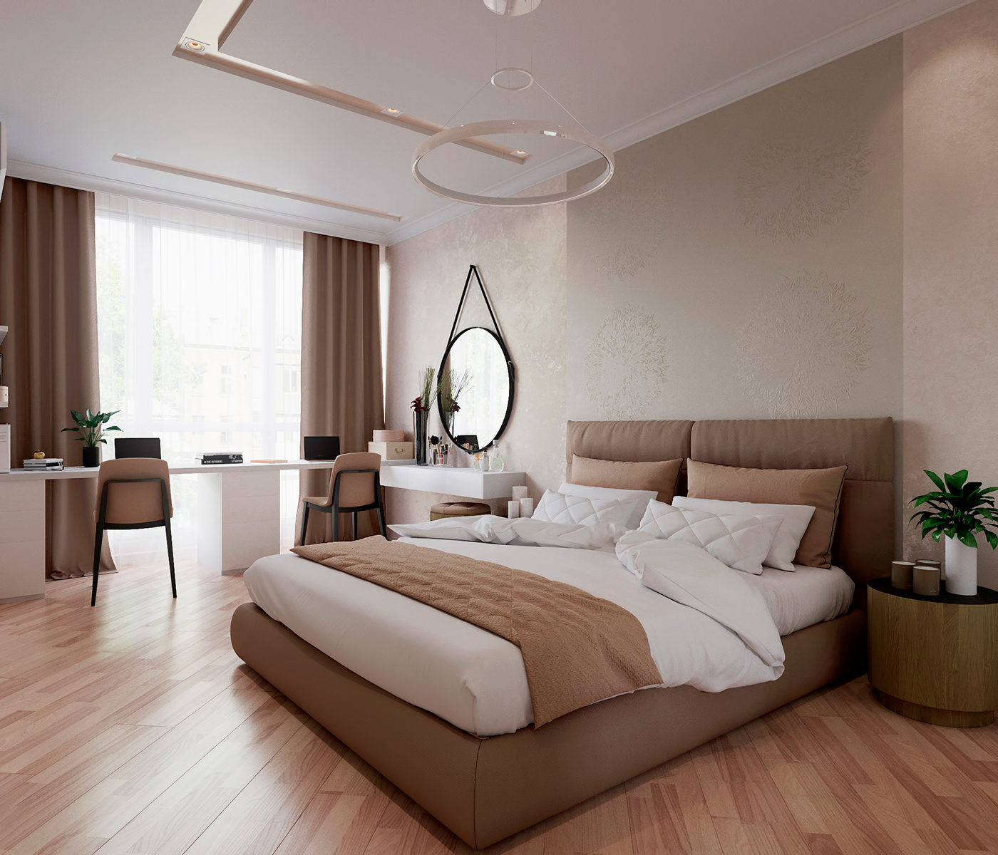 Bedroom In Contemporary Style On Behance: Modern Bedroom On Behance
