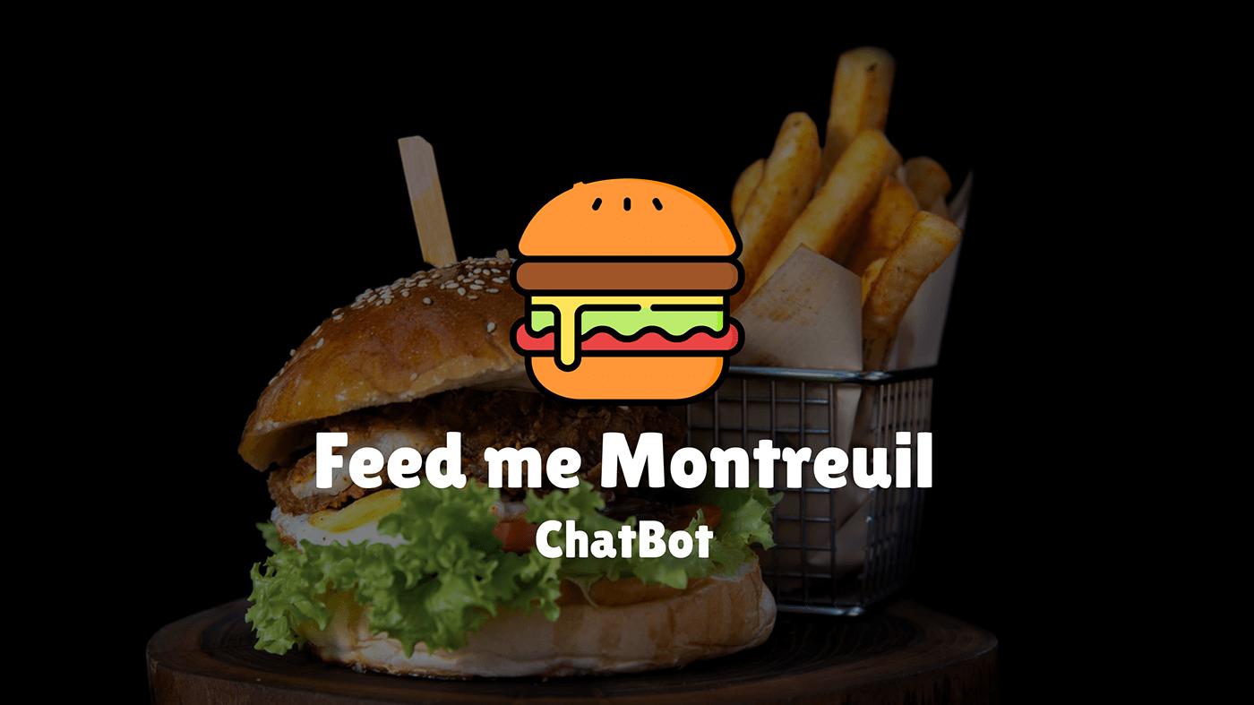 Chatbot design eat facebook feed Food  messenger Montreuil