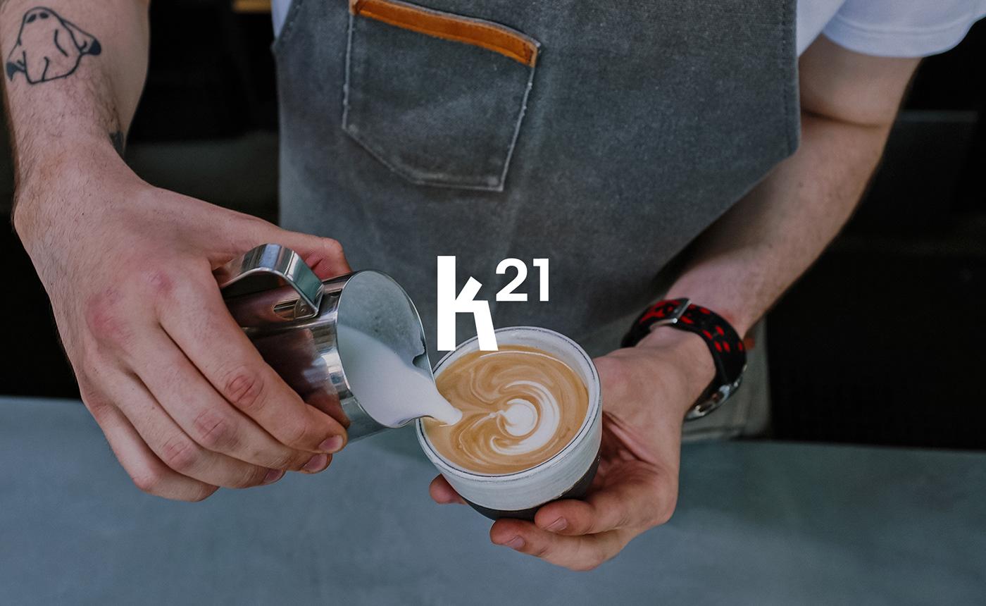 brand brand identity branding  cafe cafe branding Coffee K21 visual identity Café packaging art direction
