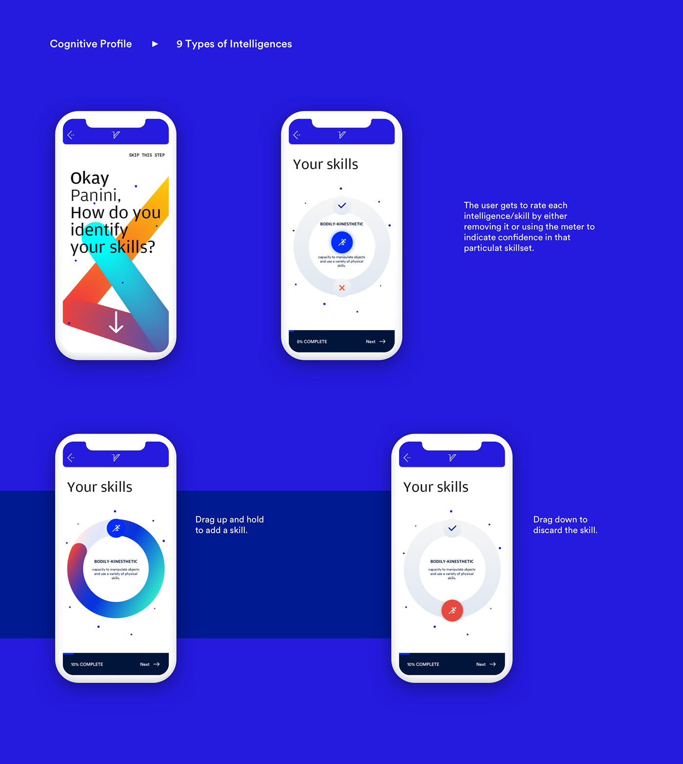 application ios gradients system design Identity Design Cognitive profile user interface design Students college Education
