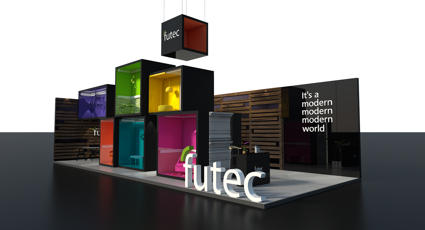 Exhibition Stand Quotation : Futec booth building show egypt mental flame on