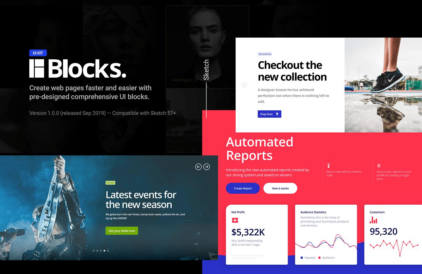 ui kit blocks Website landing page template free Blog Ecommerce portfolio Hero