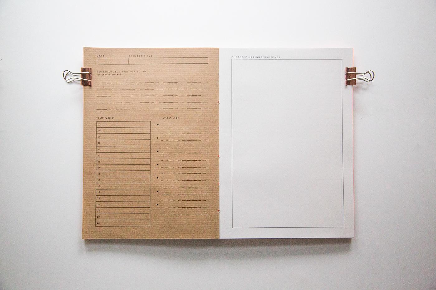 Diary book Bookbinding coptic coptic stitch design diary journal neon paper stock Kraft