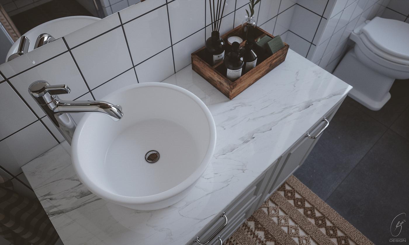 bathroom Brown colors marble tiles studio flat wood furniture Farmhouse