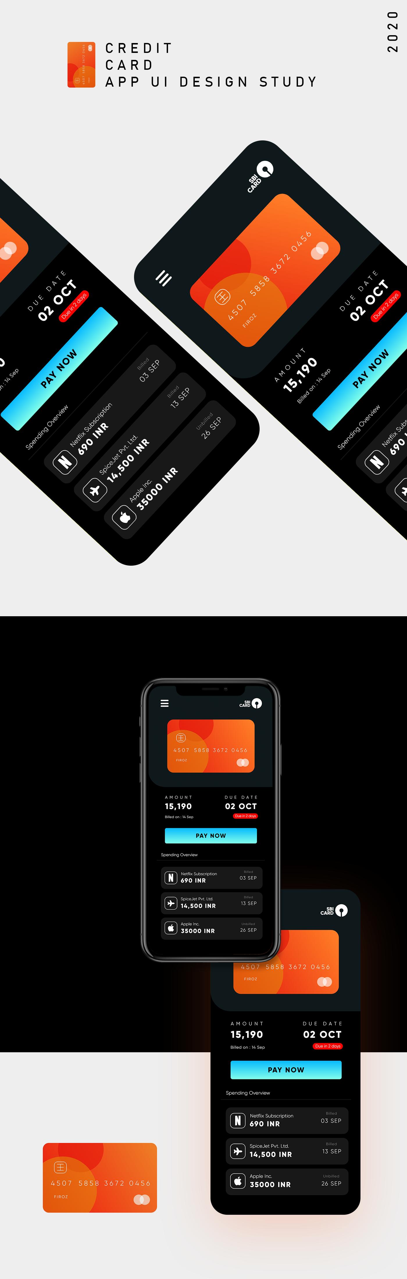 adobexd app design bank app  creditcard Interfce UI uidesign ux