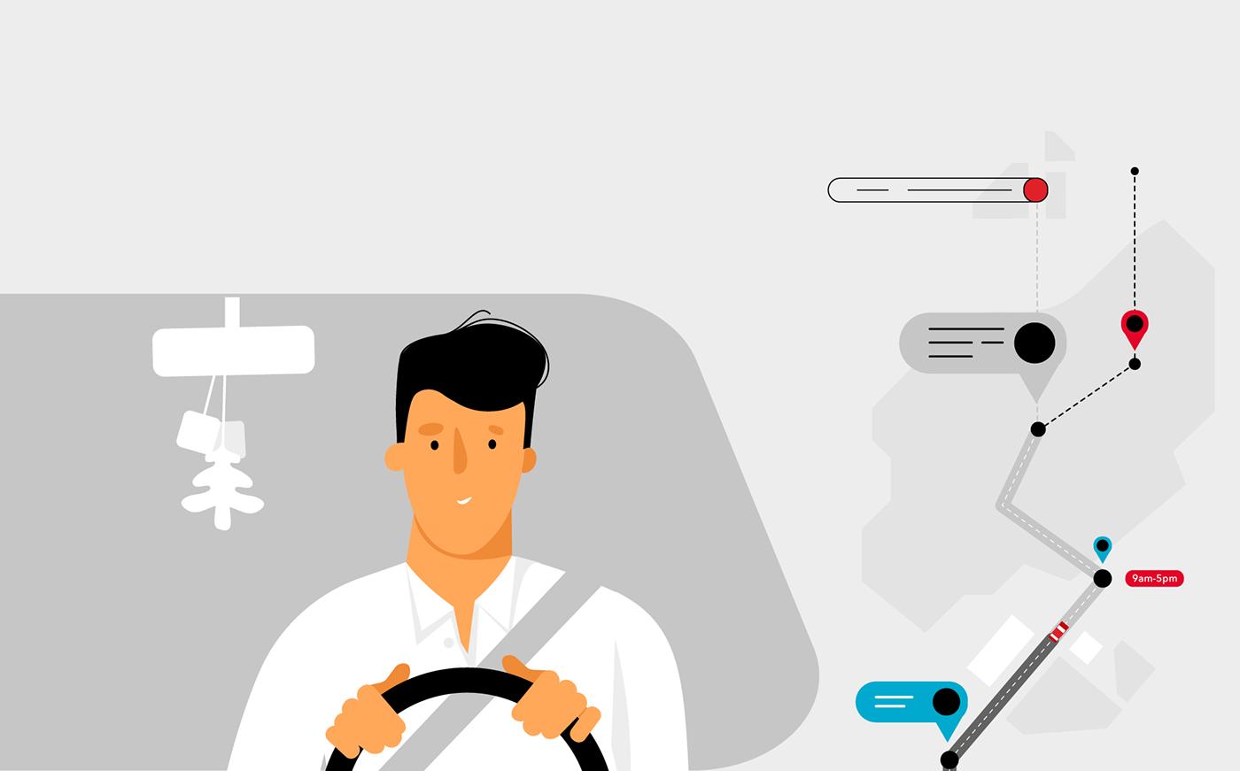 2D animation  flat Character design graphics infomercial app explainer UI/UX
