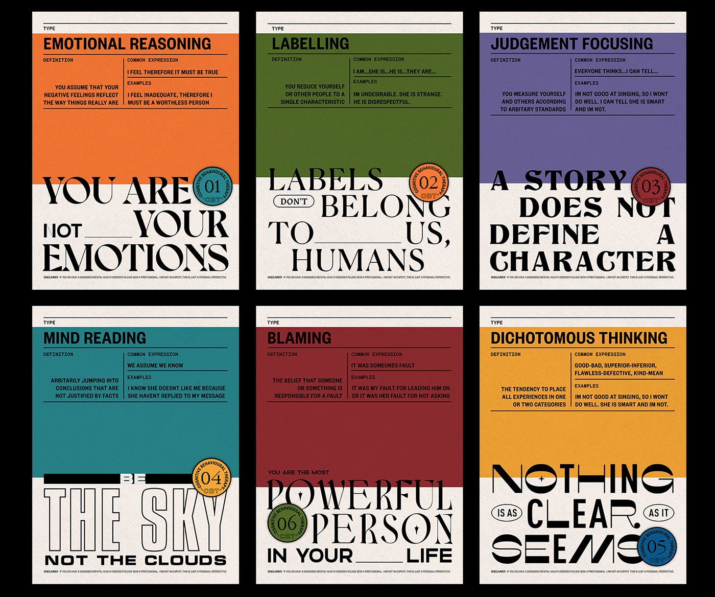 CBT,emotions,posters,psychology,Quotes,reflection,type,typography  ,Creative residency,graphic design