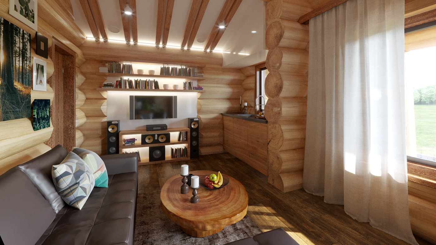 wood chalet Interior 3ds max design architecture house 3D room Project