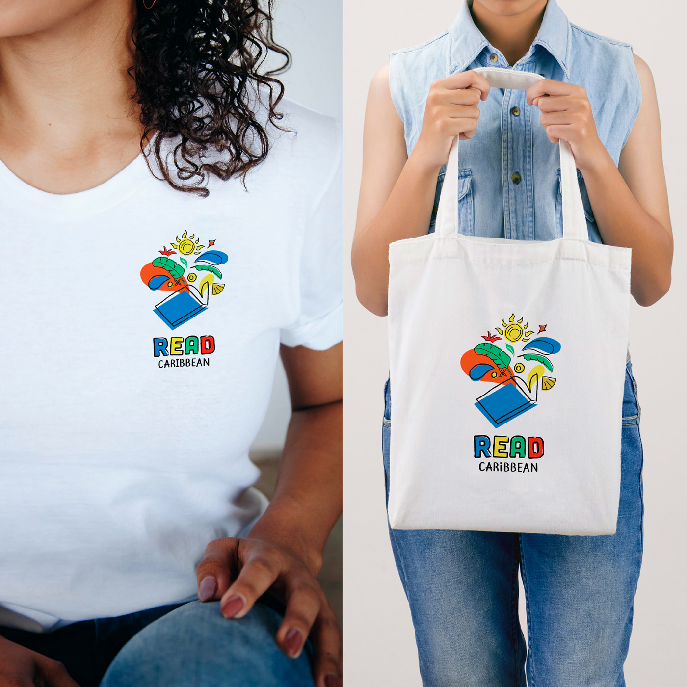 T shirt and Tote bag design for Read Caribbean.