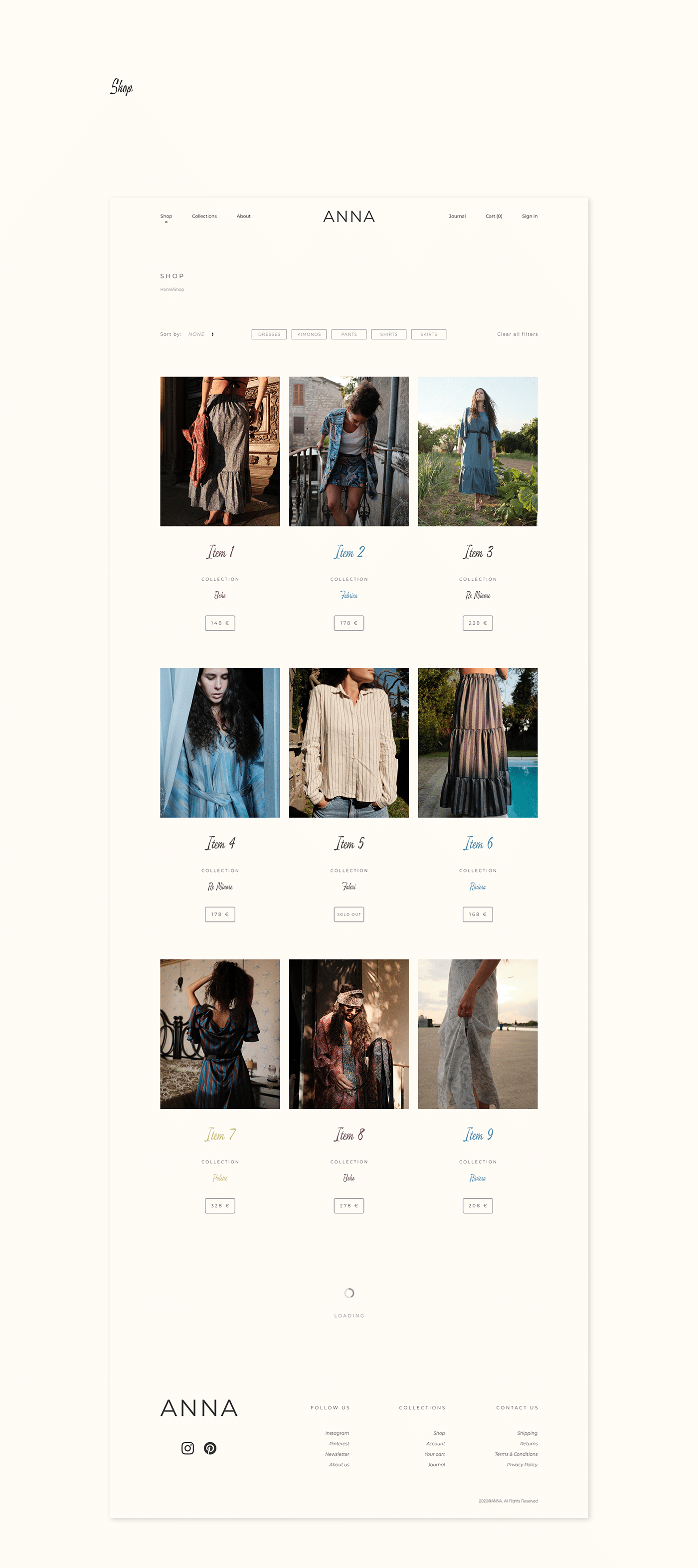 Shop page of ANNA by Anna Graziani website