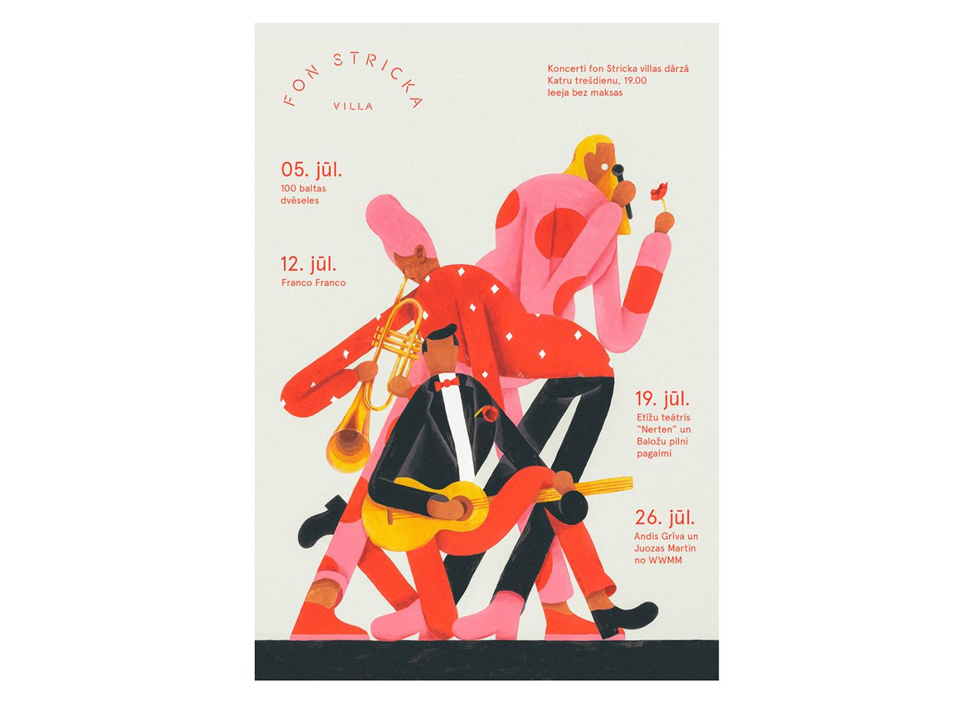 Adobe Portfolio Fonstrickavilla robertsrurans Fun concert poster summer party ILLUSTRATION