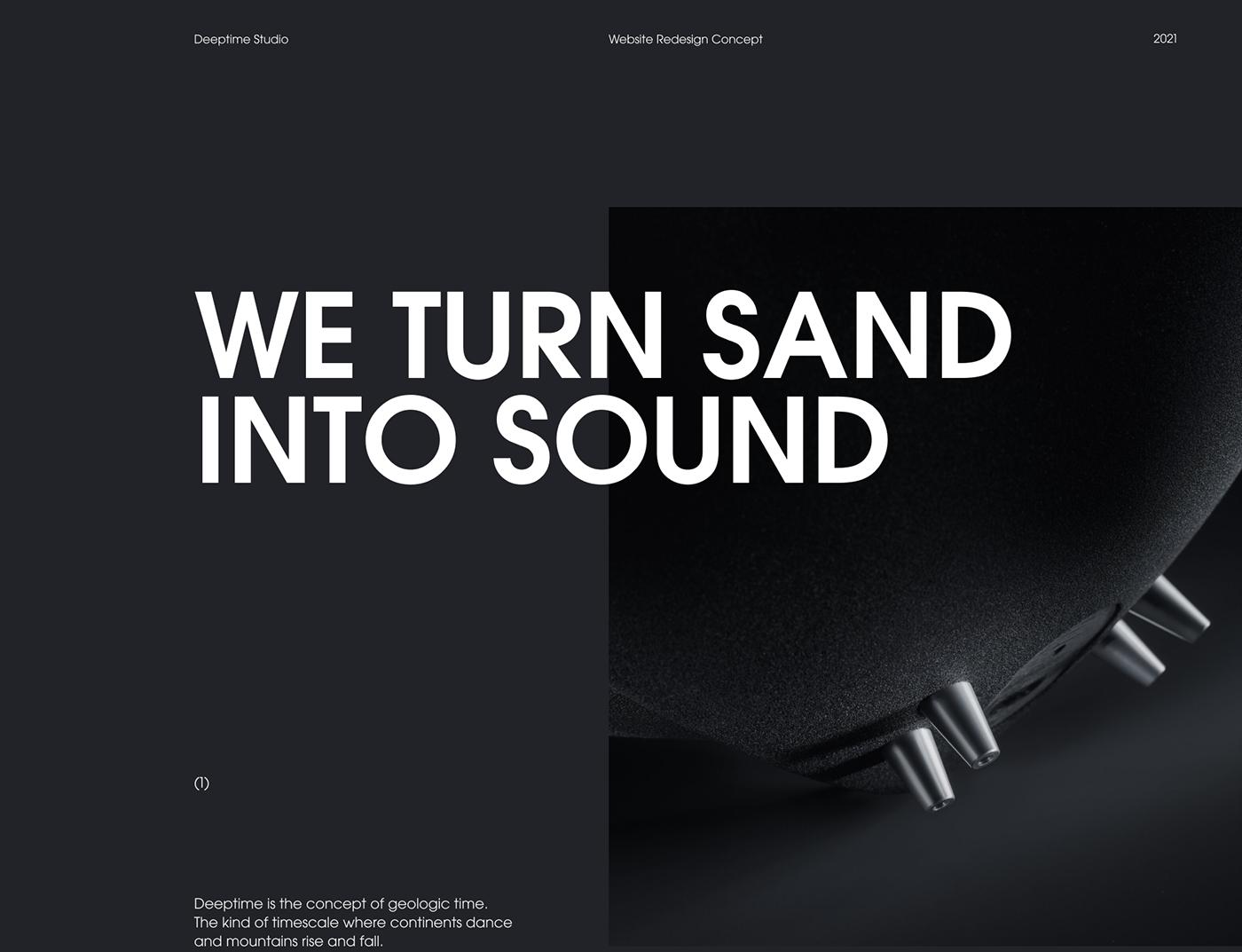Audio dark deeptime elegant grid modern music sound typography   Web
