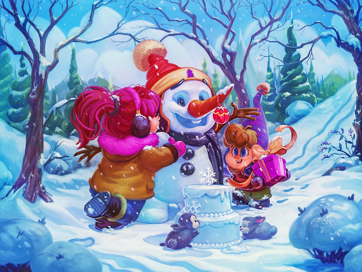 snowman kids children Birthday cartoon party winter Christmas story snow
