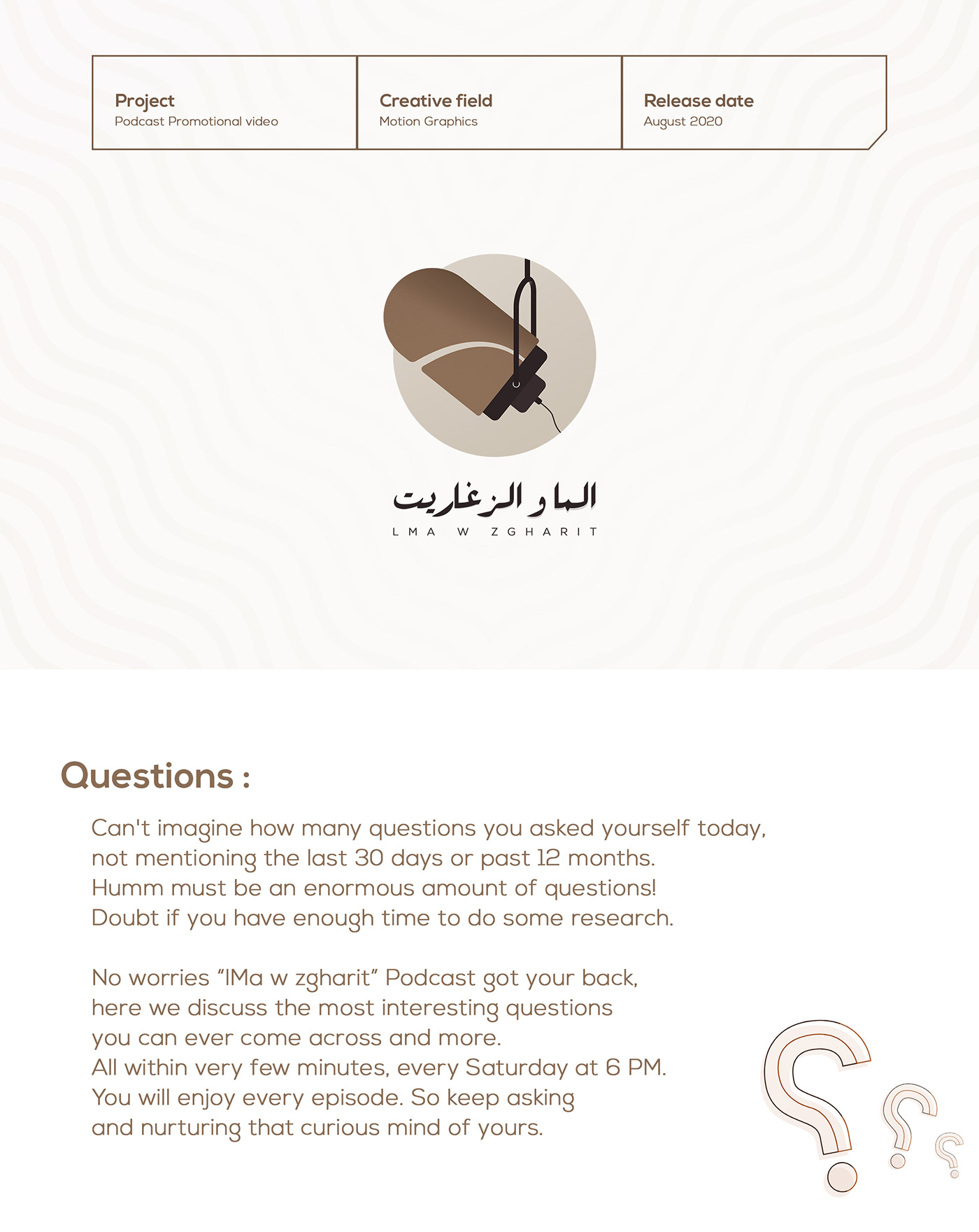 lma w zgharit MahfWorks Moroccan Podcast motion graphics  podcast promotional video questions weekly show