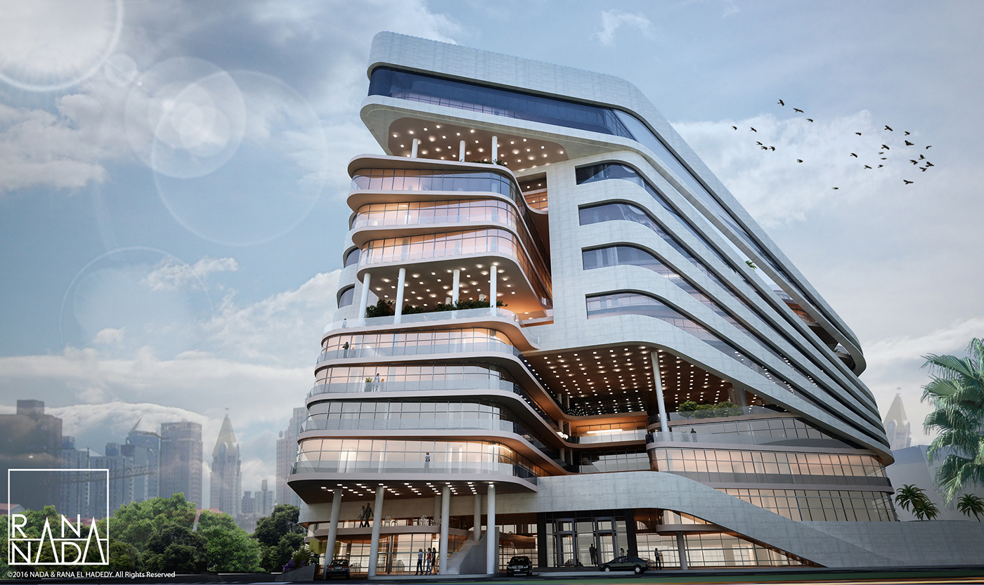 africa green hotel luxurious modern residential tower White glass nile