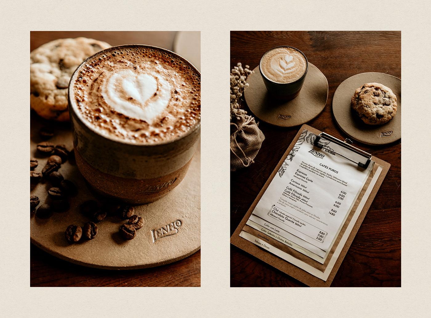cafe Coffee branding  Madeira wood lenho rustic vintage