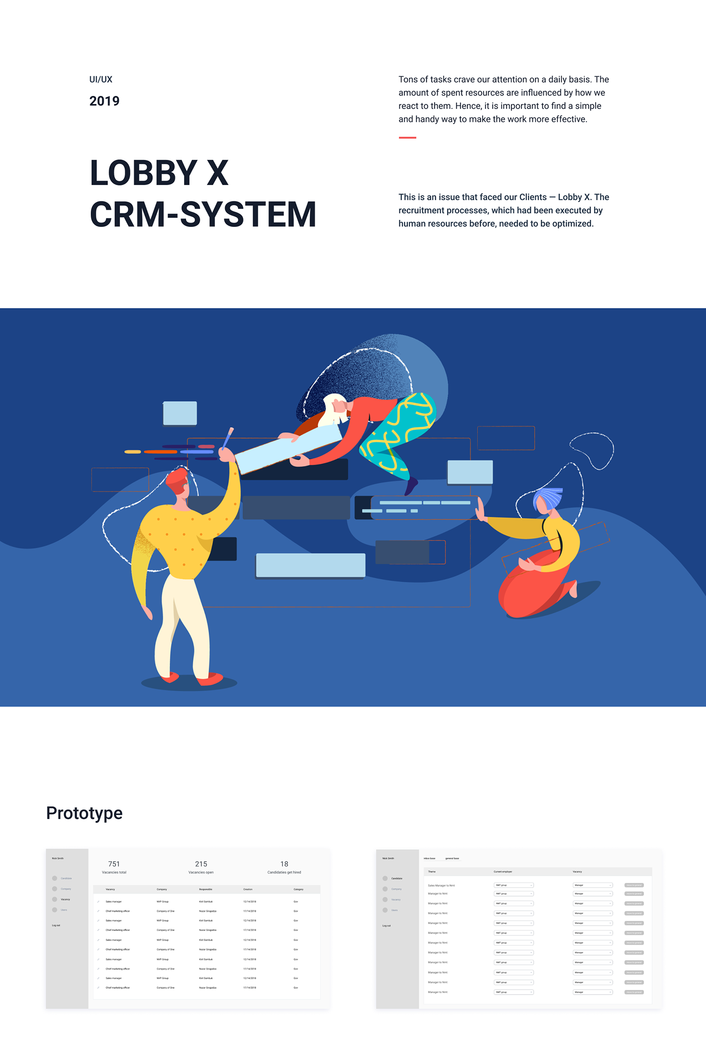 CRM management UI ux dashboard table Webdesign recruitment Human Resources Jobs