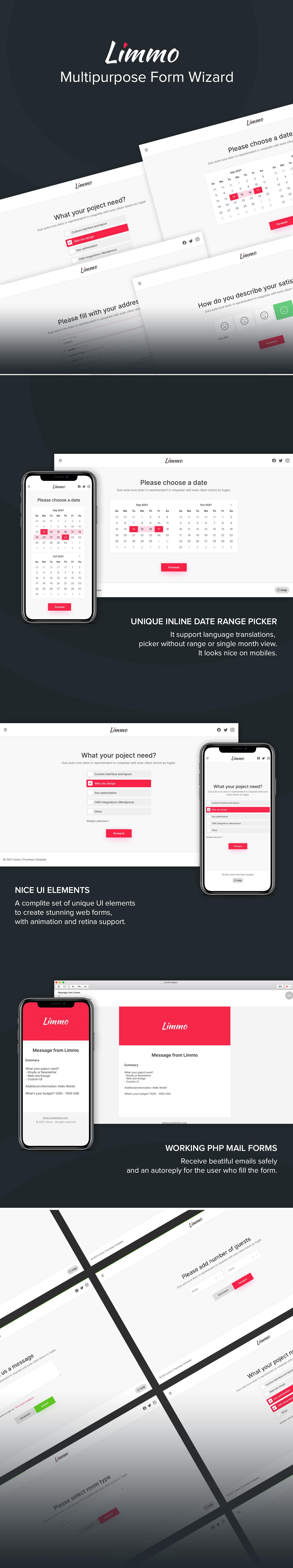 form mail UI/UX user interface Web Design  Website form wizard quotation registration reservation review