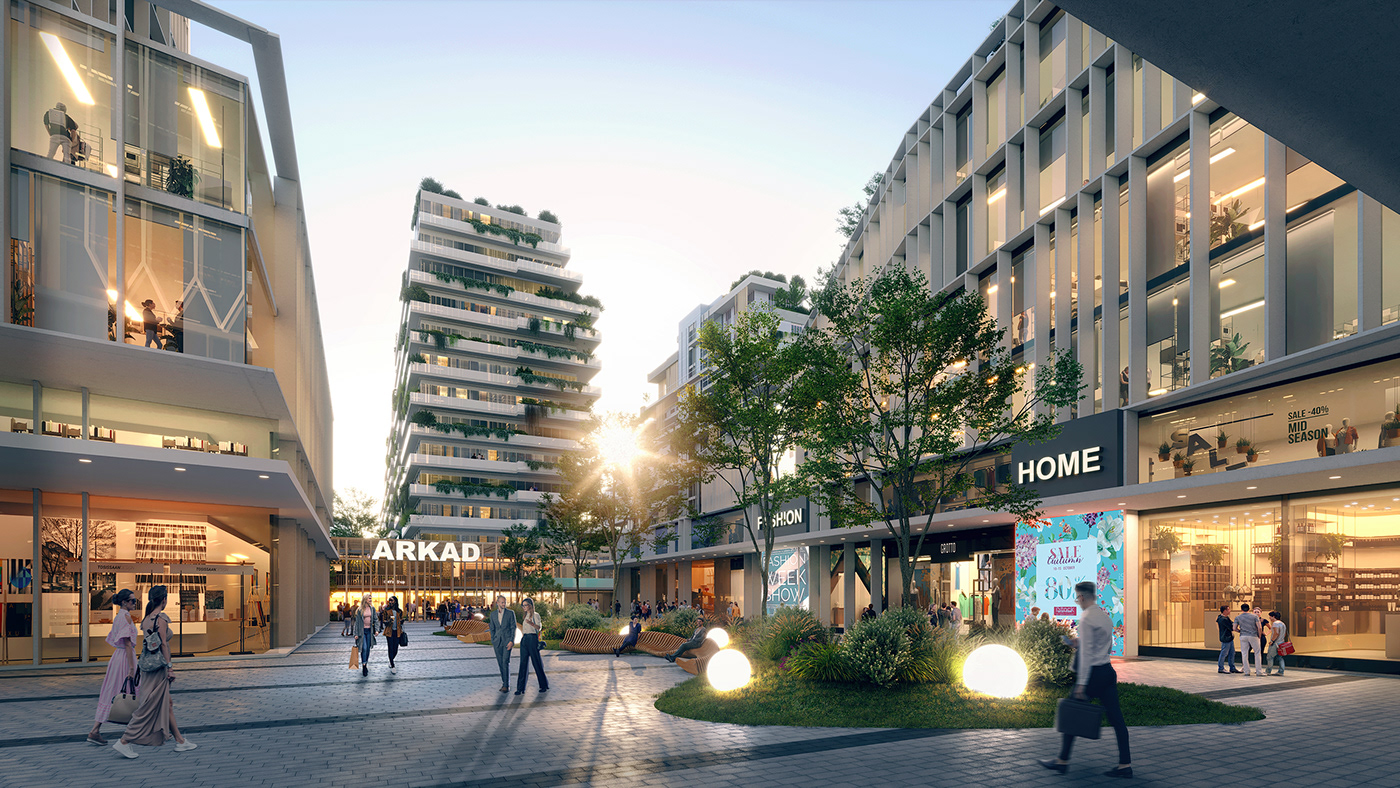 architecture CGI design dramatic DUSK Office rendering residential Retail visualization