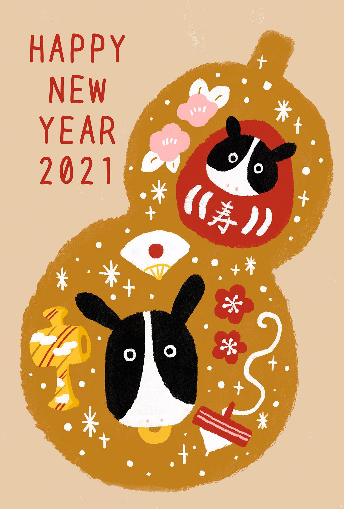 animal cute greeting ILLUSTRATION  japanese newyear