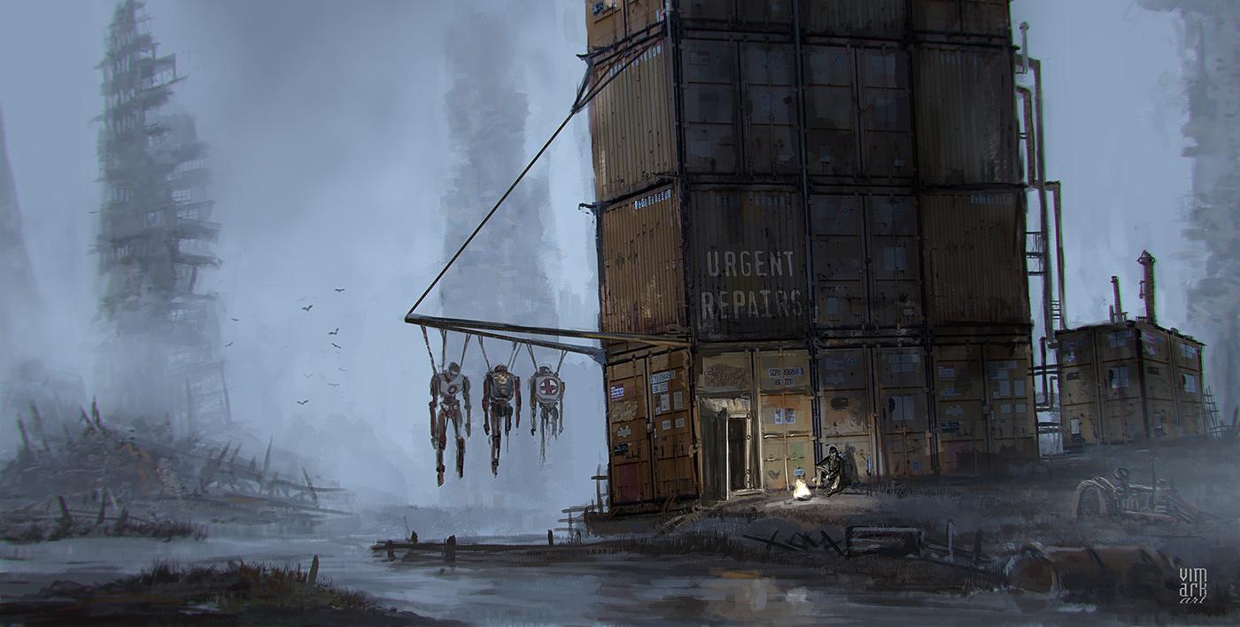 concept art dark digitalpainting Drawing  fantasy fog painting   robots vimark