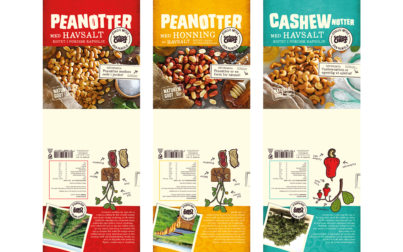 norway sørlandschips selected nuts peanuts cashew nuts honey nuts fjeldheimpartners concept logo identity