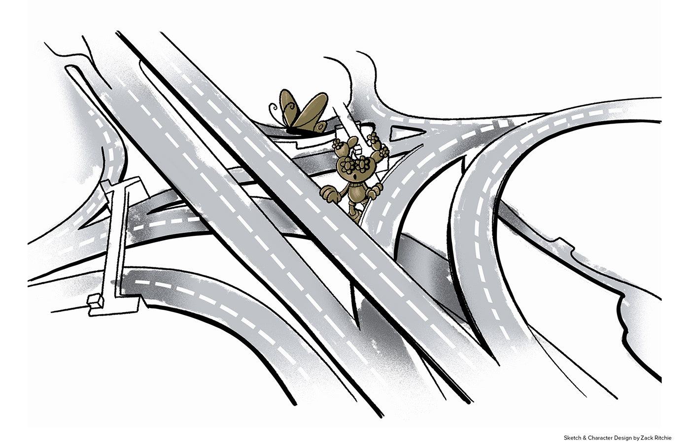 A sketch of a Cactus exploring the urban street junction of Marsa.